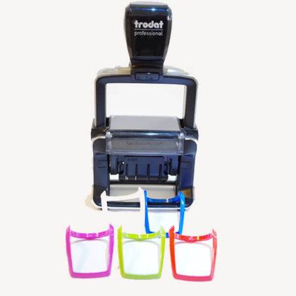 Trodat Professional Line selbstfärbender Datumstempel mit 5 auswechselbaren Farbmarkierungen für den Griff