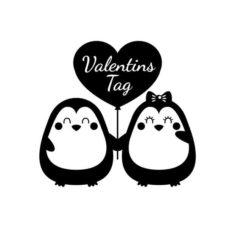 Herz mit pinguinen pärchen
