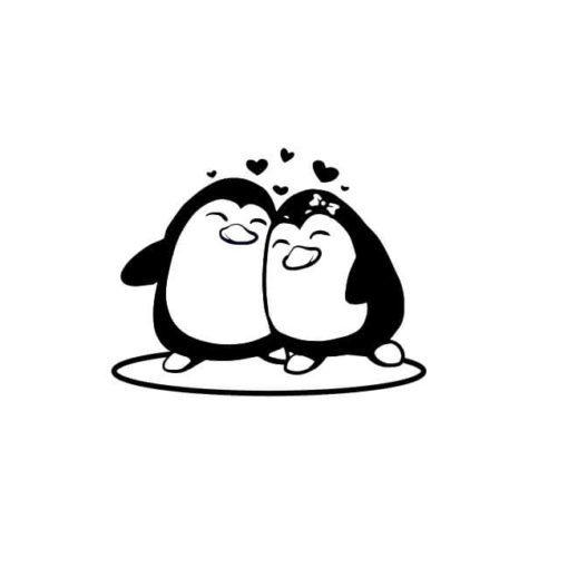 Pinguinen Pärchen mit Herzen