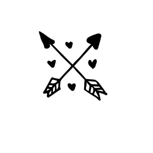 Zwei Liebespfeile mit Herzen