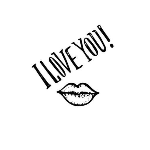 Motivstempel Valentinstag: I love you mit Kussmund