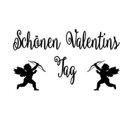 Motivstempel Valentinstag: Schönen Valentinstag mit Engeln und Pfeil und Bogen