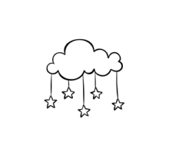 Mini Motivstempel Mobile Wolke und Sterne