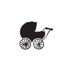 Mini Motivstempel nostalgischer Kinderwagen