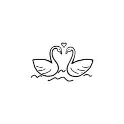 Mini Motivstempel Hochzeit verliebte Schwäne