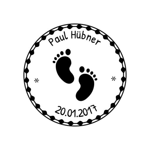 Motivstempel Babyfüsschen Namen und Datum