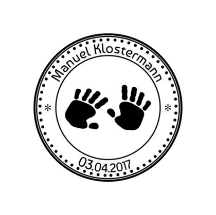 Motivstempel Babyhändchen Namen und Datum