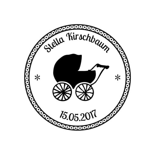 Motivstempel Kinderwagen Namen und Datum