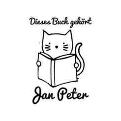 Ex Libris Katze mit Buch