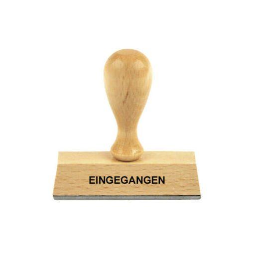 Holzstempel Lagertext EINGEGANGEN