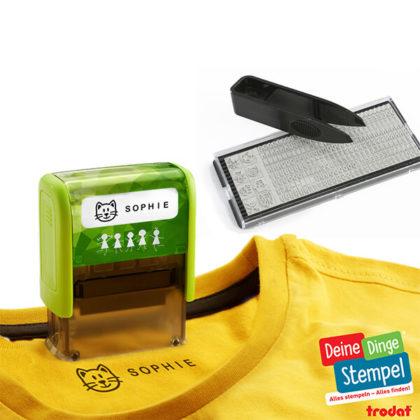 Trodat Deine Dinge Stempel mit Platte und T-Shirt