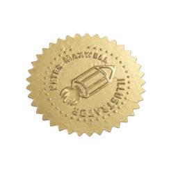 Etikett für Praegezange gepraegt gold