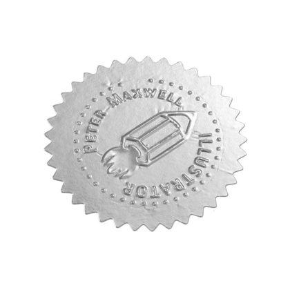 Etikett für Praegezange gepraegt silber