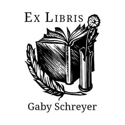 Ex Libris Buch Feder Blume