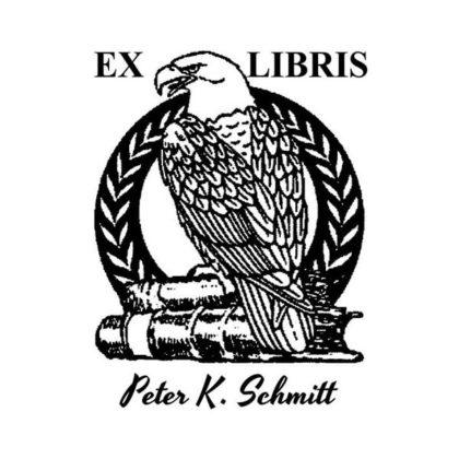 Ex Libris Holzstempel Adler auf Büchern