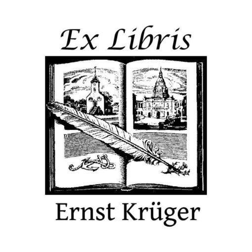 Ex Libris Holzstempel aufgeschlagenes Buch mit Feder