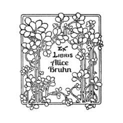 Ex Libris Holzstempel Blumen Ranke