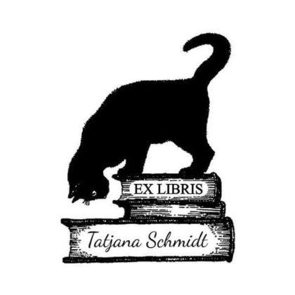 Ex Libris Holzstempel Lesekatze