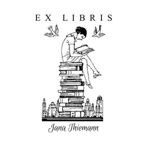 Ex Libris Holzstempel Lesende Dame
