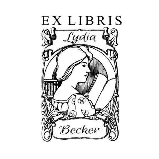 Ex Libris Holzstempel lesende Frau mit Buch