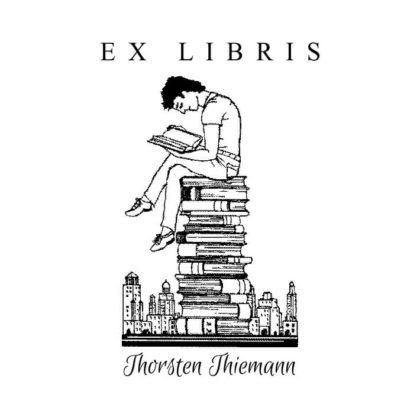Ex Libris Holzstempel Lesender Herr
