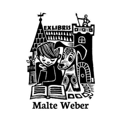 Ex Libris Holzstempel Lesender Junge mit Hund vor Ritter-Burg