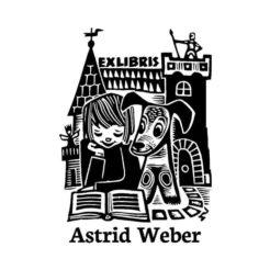 Ex Libris Holzstempel Lesendes Mädchen mit Hund vor Ritter-Burg