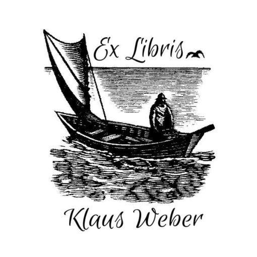 Ex Libris Holzstempel Mann im Boot mit Segel