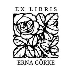 Ex Libris Holzstempel Rose mit Blaettern