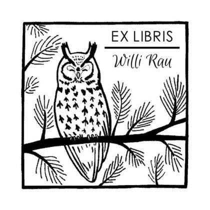 Ex Libris Holzstempel schlafende Leseeule auf Ast