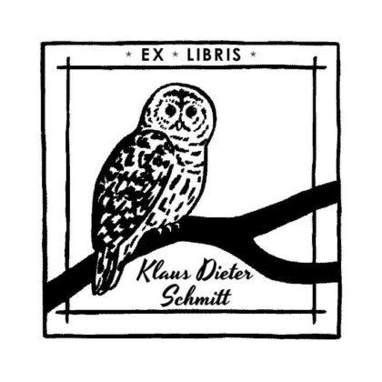 Ex Libris Holzstempel sitzende Leseeule auf Ast