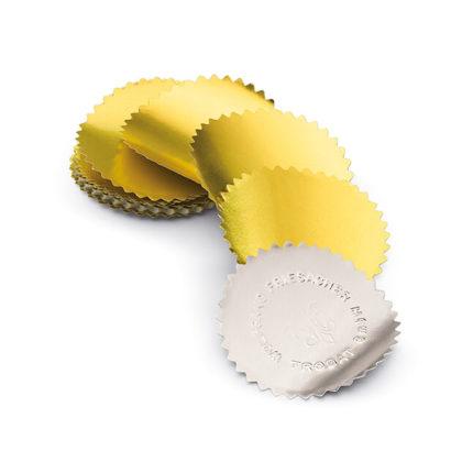 Etikett für Praegezange silber und gold