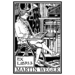 Ex Libris Holzstempel - Lesender Mann auf Stuhl