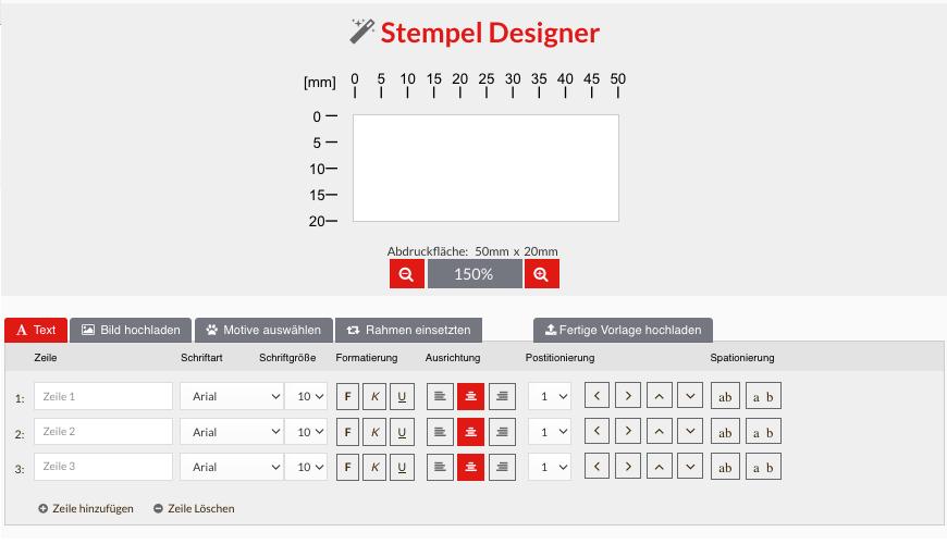 Holzstempel können im Stempel Designer selbst gestaltet werden